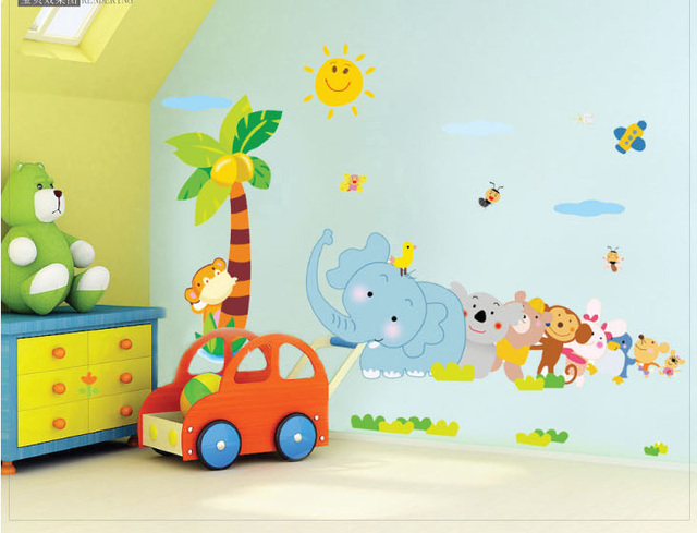 Elephant Cartoon Children S Room Nursery Wall Stickers Baby Vinyl Decals For Kids Rooms