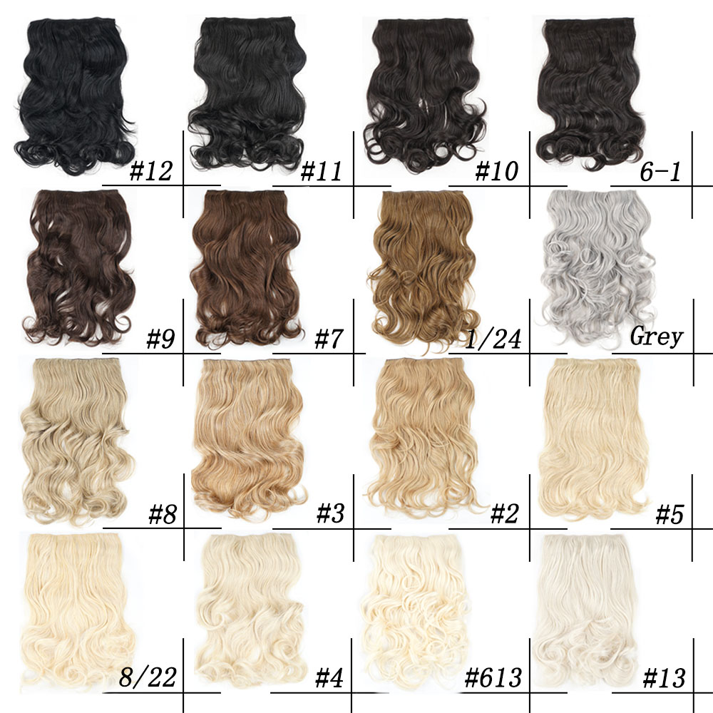 Silky Strands Synthetic Clip In Extensions False Hair Wavy Clip On