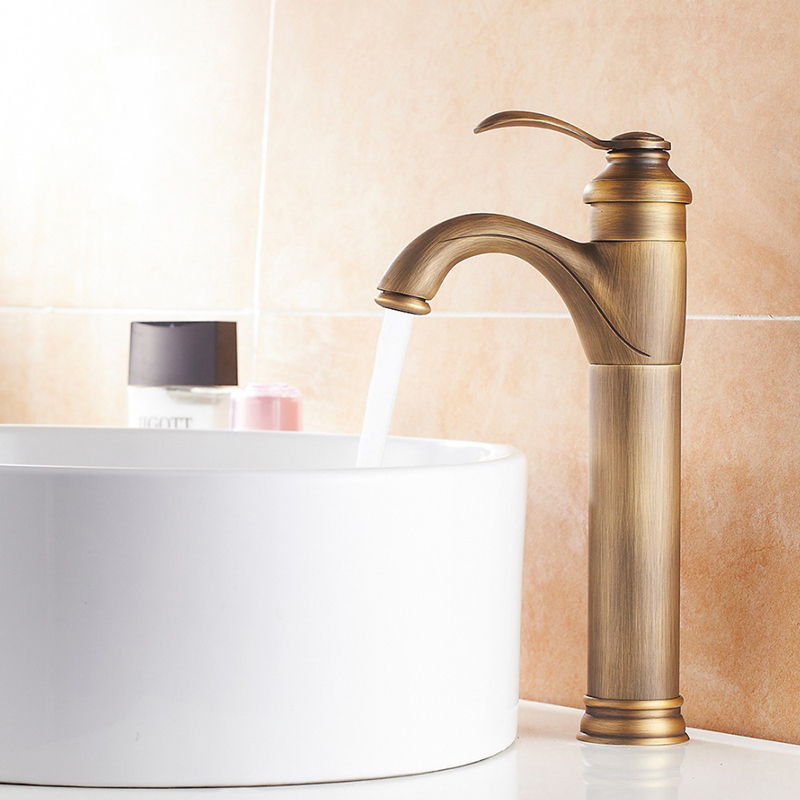 Tall Classic Antique Brass Bathroom Basin Faucet Sink Mixer Tap Deck Mounted Faucet Single Handle Lavatory Faucet Shower TapTall Classic Antique Brass Bathroom Basin Faucet Sink Mixer Tap Deck Mounted Faucet Single Handle Lavatory Faucet Shower Tap