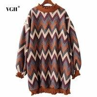 VGH Code Deerskin Down Wave Grain Sweater 2017 Autumn And Winter New Pattern Lantern Sleeve Long
