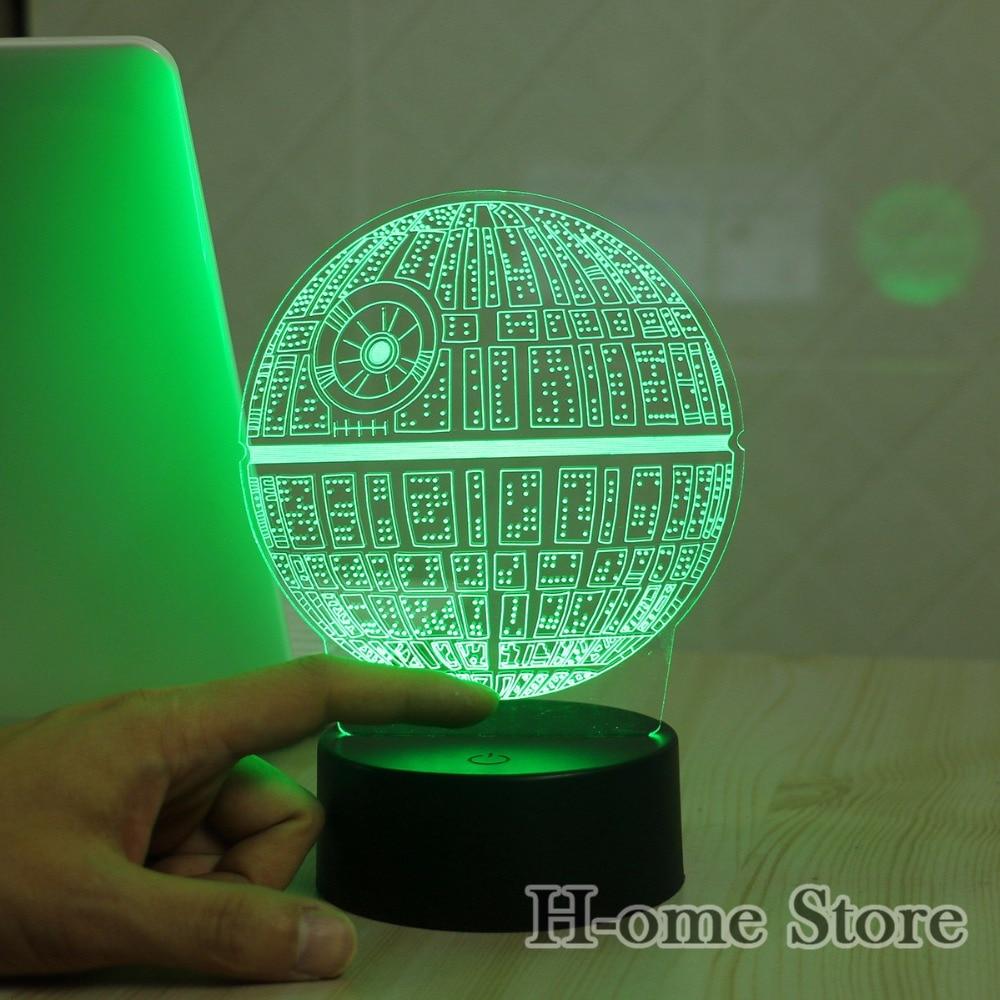 Star Wars Todesstern 3d Led Nachtlicht Touch Schalter Tisch Lampe