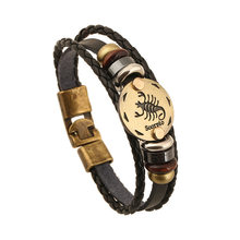 12 Constellations Bracelet Male Zodiac Horoscope Signs Leather Bracelet Men Vintage Punk For Women Couple Bracelets & Bangle(China)