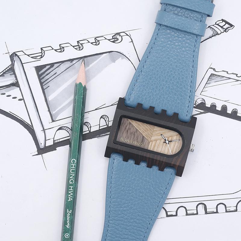 BOBO BIRD New Designer Wooden Watches Women with PU Leather Strap Quartz Watch (3)