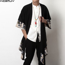 2018 Plus Size Fashion Men Long Outwear Shirts Half Sleeve Irregular Chinese Style Retro Male Cloak Coats Stylish Casual Trench cheap Stand Cotton Open Stitch Patchwork Standard INCERUN Broadcloth Spliced Loose Conventional Men s Fashion Trench None Autumn Spring