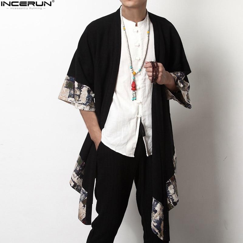 2018 Plus Size Fashion Men Long Outwear Shirts Half Sleeve Irregular Chinese Style Retro Male Cloak