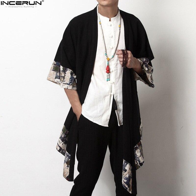 Más de 2018 tamaño de los hombres de la moda largo ropa de abrigo camisa de media manga Irregular chino estilo Retro hombre capa abrigos Casual elegante Trench