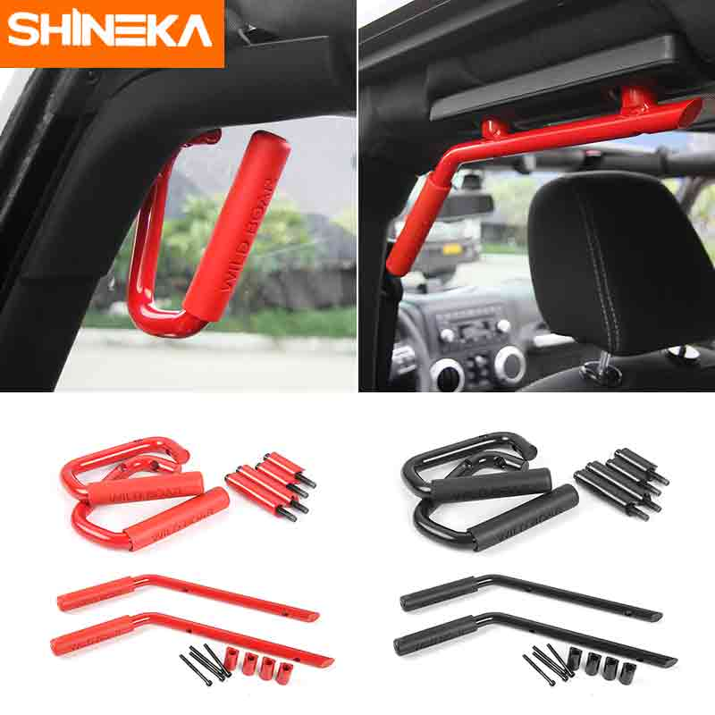 SHINEKA Aluminium Car Grab Handle Kit Front Rear Bar for Jeep wrangler JK 2007 Up 2&4 Door 4x4 Offroad Car Accessories Styling