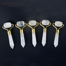 Mini Clear Crystal Rollers Jade Facial Lift Rollers Stone Portable Beauty