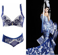 2015 Fashion High Grade Chinese Style Push up Bras Women Underwear Embroidery Lace Sexy Lingerie Female Bra Set Intimates H084