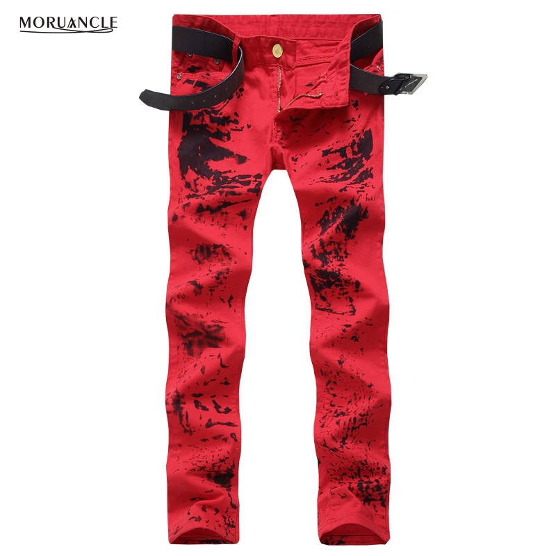Fashion Club Wear Mens Printed Jeans Personality Red Painted Denim Joggers Slim Fit Designer Jeans Pants Trousers Straight E0024 brand designer mens embroidered jeans pants fashion painted denim joggers for male slim fit straight jean trousers ink splash