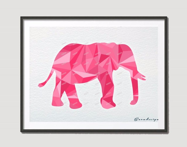 Low Poly Modern Geometric Coral Pink Elephant Canvas painting wall ...