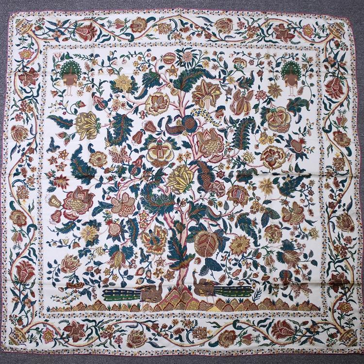 140 Scarf Women Square Large Scarves Female Pure Twill Silk Life Tree Printing Luxury Brand Shawls Wraps 140*140cm