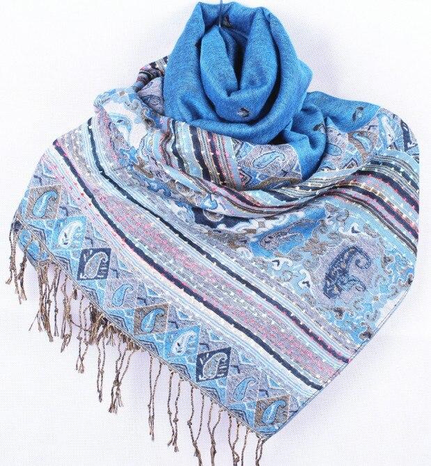 Fashion turquoise Women's Silk Pashmina Shawl   Scarf     Wrap   honeybee flower Free Shipping Wholesale Retail FF-XMF1