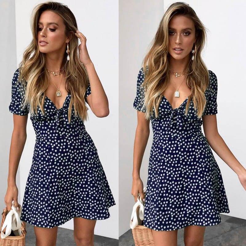 Синее женское платье с коротким рукавом и цветочным рисунком, повседневное вечернее, для вечеринки, Короткое мини-платье с v-образным вырезо...