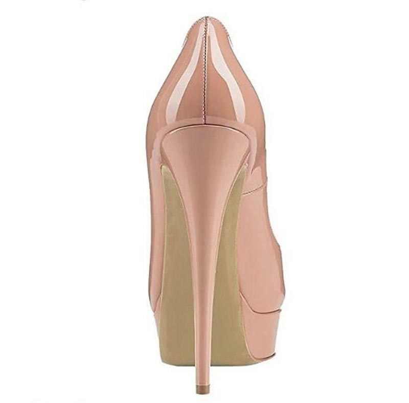 Hoge Kwaliteit Vrouwen Mode Open Teen Lakleer Hoge Platform pompen 14 cm Sexy Hoge Hakken Formele Kleding Schoenen Zwart Naakt schoenen