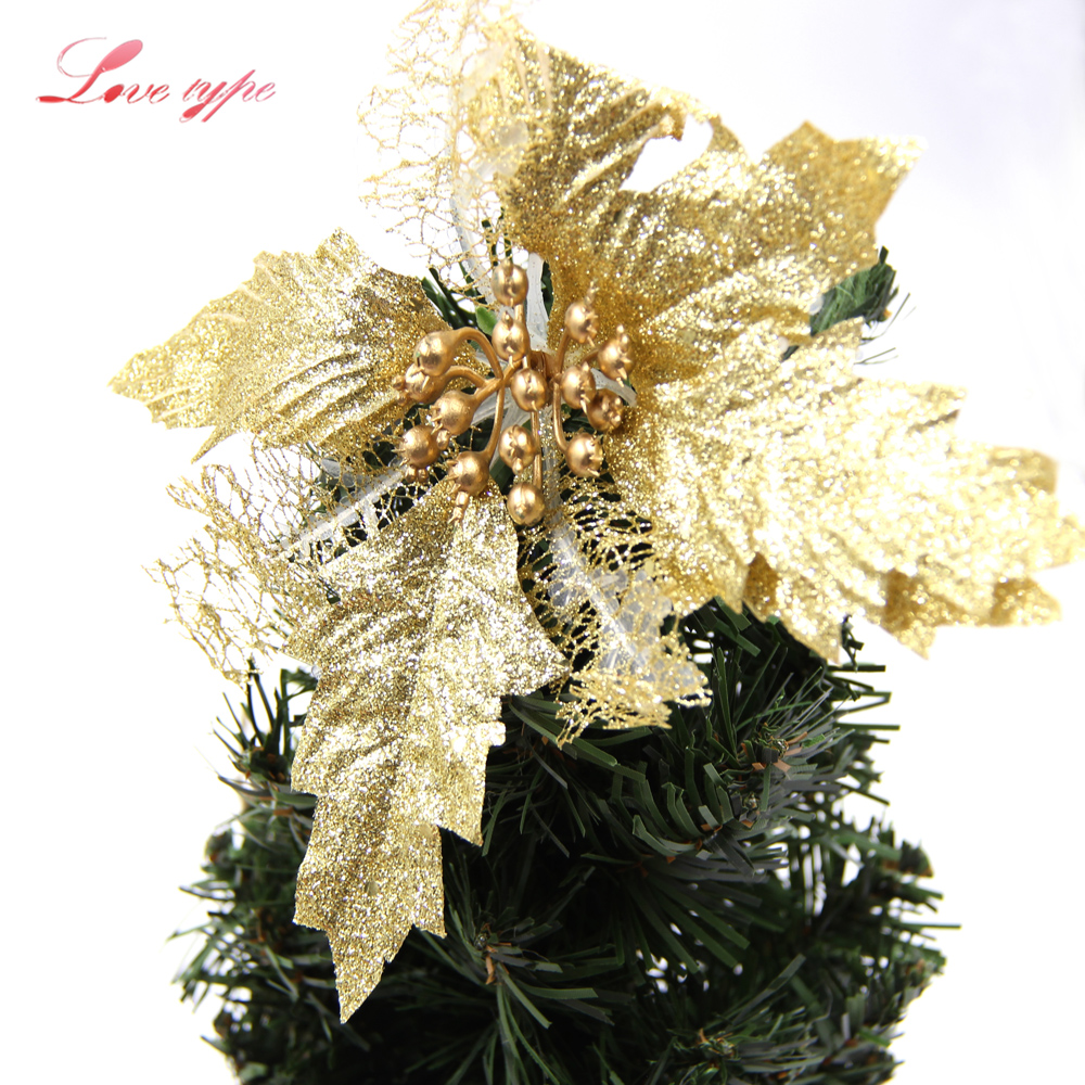 3pcs Lot Artificial Flowers Glitter Christmas Diy Xmas Tree Ornaments Home Decor Wedding Party Decoration In Dried