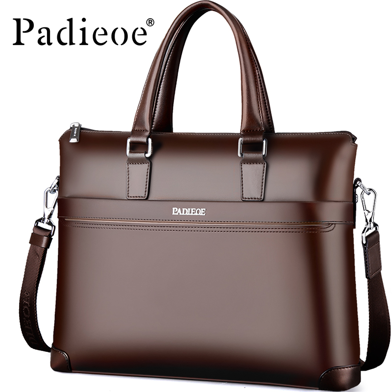 2017 PADIEOE Brand 100% Genuine Leather Handbag Men Cowhide Leather Bag Business Style Briefcase Shoulder Bags Male Crossbody padieoe men s genuine leather briefcase famous brand business cowhide leather men messenger bag casual handbags shoulder bags