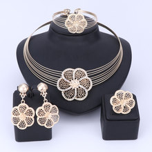 hot deal buy african beads crystal jewelry set fashion wedding of women dubai jewelry sets gold color necklace earrings bangle ring