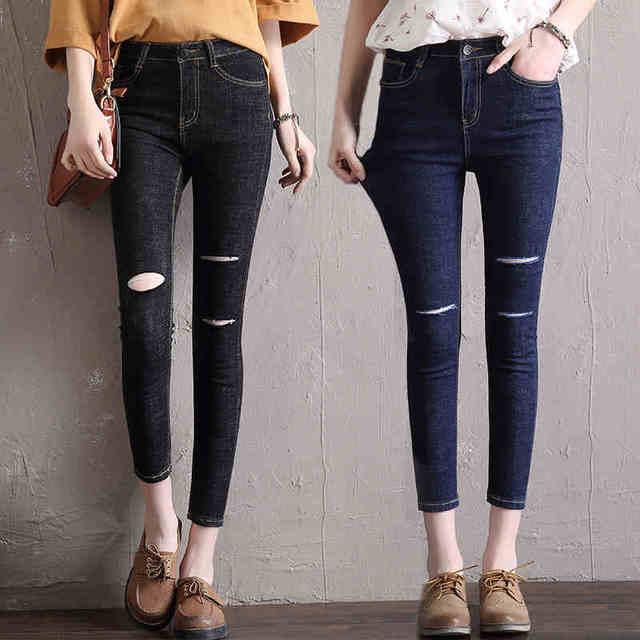 7558e53bffb2da Jeans Frauen Modelle Zwei Manschetten Getragen Jeans Weibliche Freizeithose  Zeichnen Hosen Jeans Frau Hohe Taille Jeans
