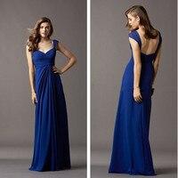 Cheap V Neck Chiffon Royal Blue Bridesmaid Dresses Long With Straps Maid of Honor Gown Floor Length Vestido Longo Amarelo