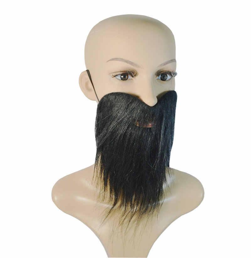Vestido de fiesta de Halloween negro barbas falsas y bigote utilería teatral cos delicado disfraz de pirata de lujo James Harden barba grande