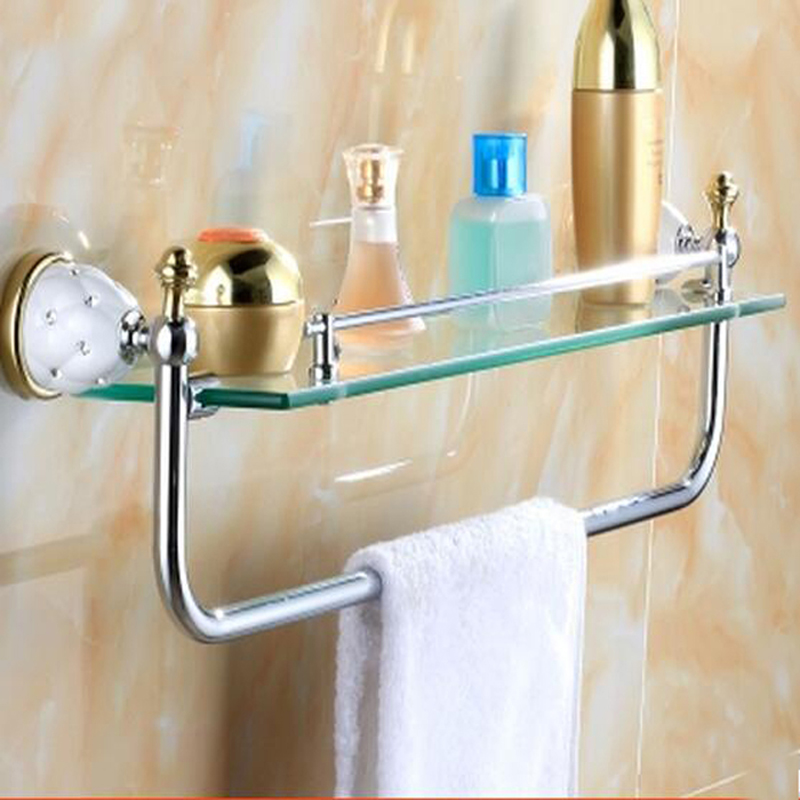 Wholesale And Retail Wall Mounted Square Bathroom Shelf Glass Ceramic Inlaid Crystal Tier Single Bath Shelf glass shelf wall mounted chrome single tier glass bathroom shelves with 304 stainless steel and copper shower shampoo holder