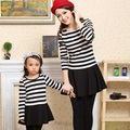 Striped Girls and Women's Long Sleeve Dress Family Dress for Mother and Daughter Spring/Autumn Clothes One-Piece Dress, CHH61