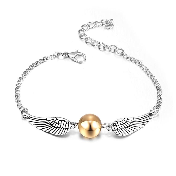 Harry Deathly Hallows Golden Snitch Harri Potter Bracelet Men Cute Ball Wings Chain Bracelets Gifts