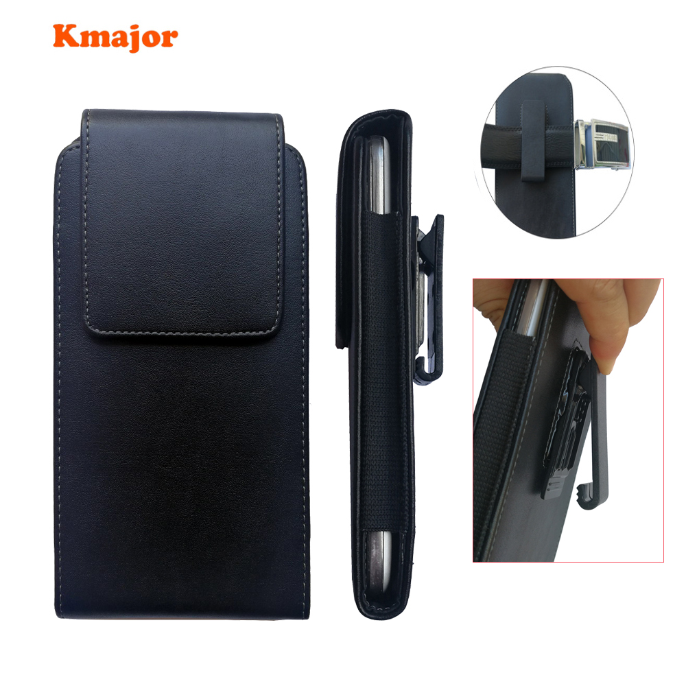 Kmajor Leather Pouch Case <font><b>360</b></font> Degrees Swivel Belt Clip Holster Cover for <font><b>Meizu</b></font> M6 Note Pro 7 Plus 5.7inch black color for men image