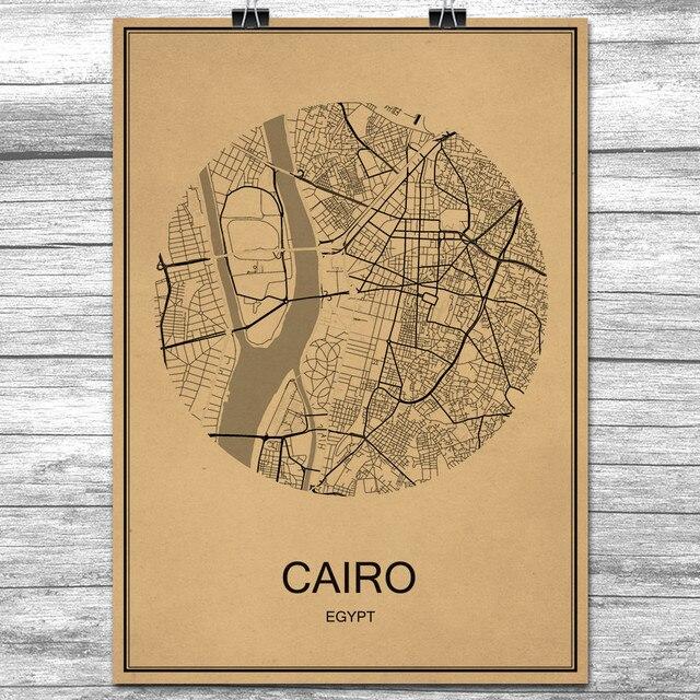 Hot Sale Cairo Round World City Map Krafts Paper Vintage Retro