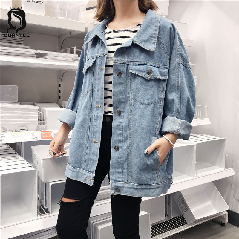 Korean BF Style Solid Color Denim Jacket Women Loose Long Sleeve Casual Pockets Single Breasted Jackets Womens Fashion Chic Coat