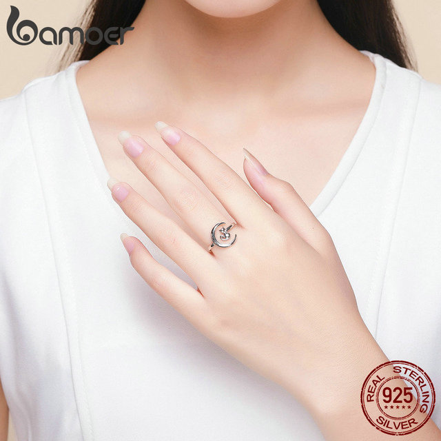 BAMOER Authentic 925 Sterling Silver Moon Cat Open Size Adjustable Finger Rings for Women Wedding Engagement Jewelry SCR451 4