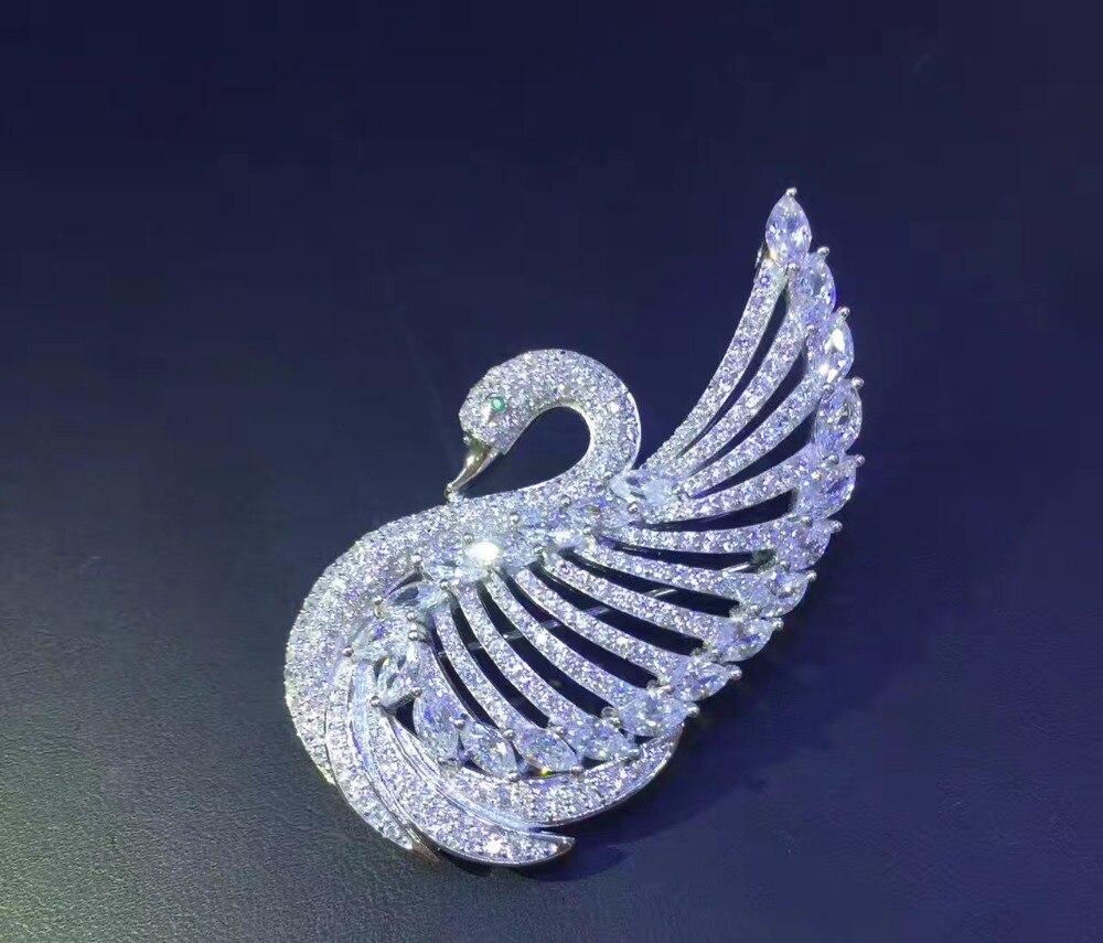 高品質925スターリングシルバーで立方ジルコン白鳥ブローチピン用女性ジュエリーホワイト色ファッション送料無料ブリンブリン