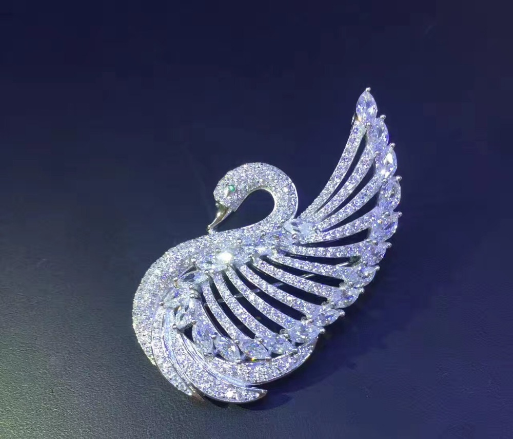 high quality 925 sterling silver with cubic zircon swan brooch pins for women jewelry white color fashion free shipping bling