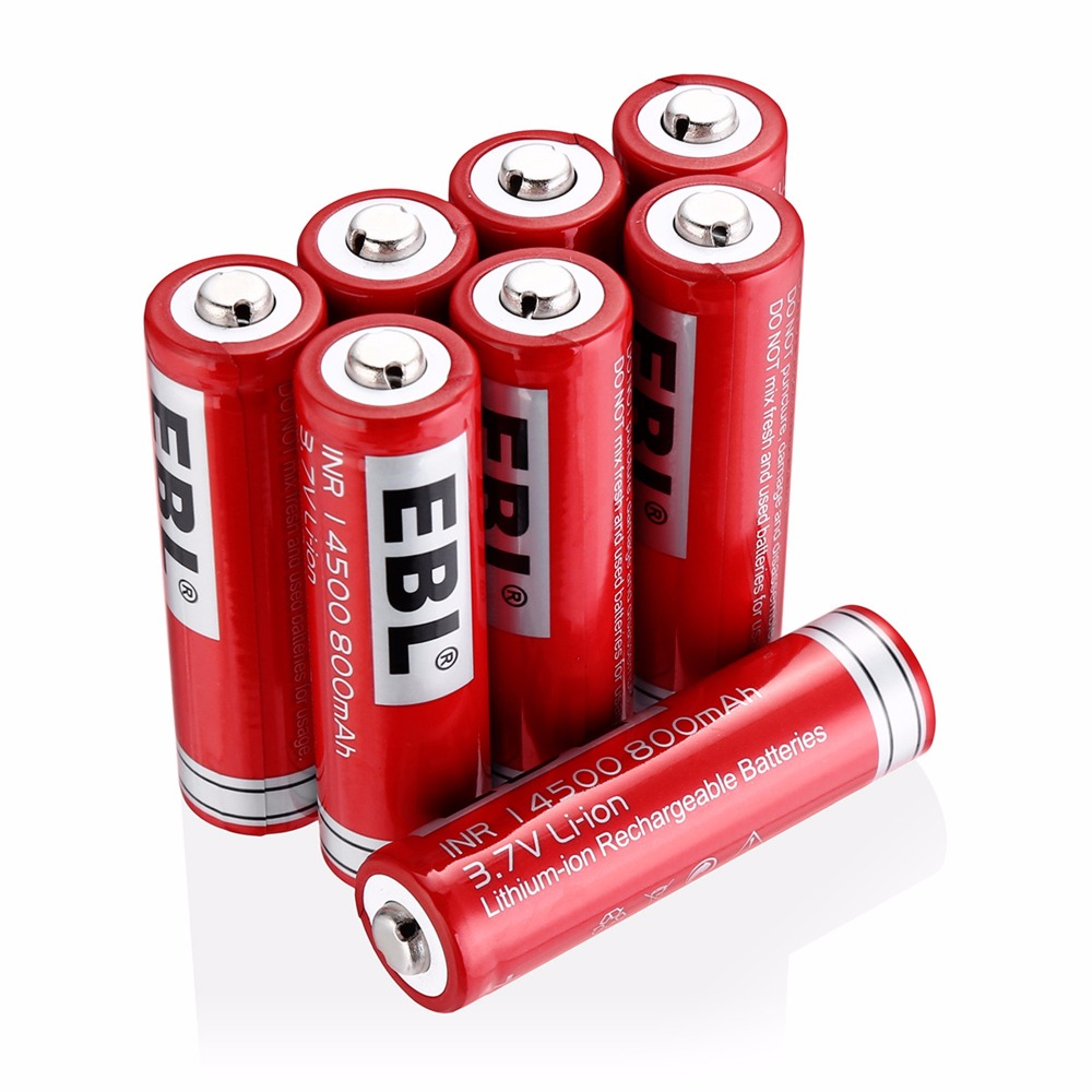EBL 8Pcs <font><b>14500</b></font> Battery 3.7V 800mAh <font><b>Li</b></font>-<font><b>ion</b></font> Rechargeable Batteries For LED Flashlight Torch image