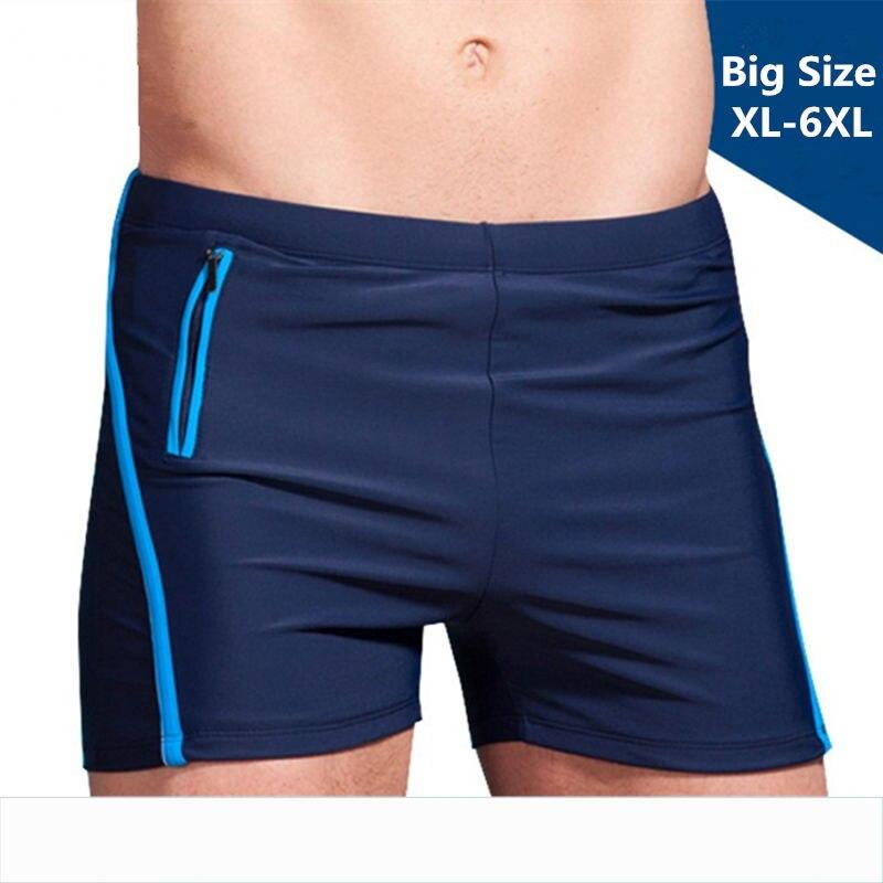 Swimming Trunks Briefs Wear Bathing-Suits Pocket Beach-Man Mens Plus-Size Zipper XL-6XL