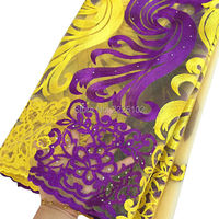 2016 Purple African Lace Fabric For Aso Ebi Orange Cream Yellow French Lace Fabric With Stones