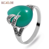 KCALOE Water Drop Green Natural Stone Ring Antique Silver Color Black Crystal Rhinestone Rings For Women Vintage Jewelry Anillo