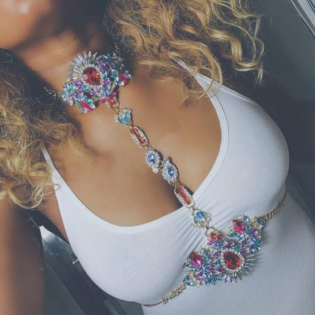 Sexy Rhinestone Crystal Gem Pendant Harness Body Chain Choker Necklace  Bikini Jewelry For Women  233059 50368f9c0aec