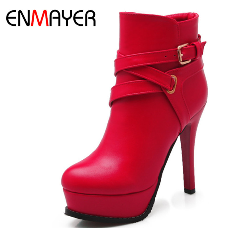 ENMAYER Shoes Woman Big Size 34-43 Zippers High Heels Winter Platform Shoes Sexy Ankle Boots for Women Fashion Boots Buckle big size 34 43 fashion rivets skid proof ankle boots square high heels platform shoes fall concise winter boots shoes woman