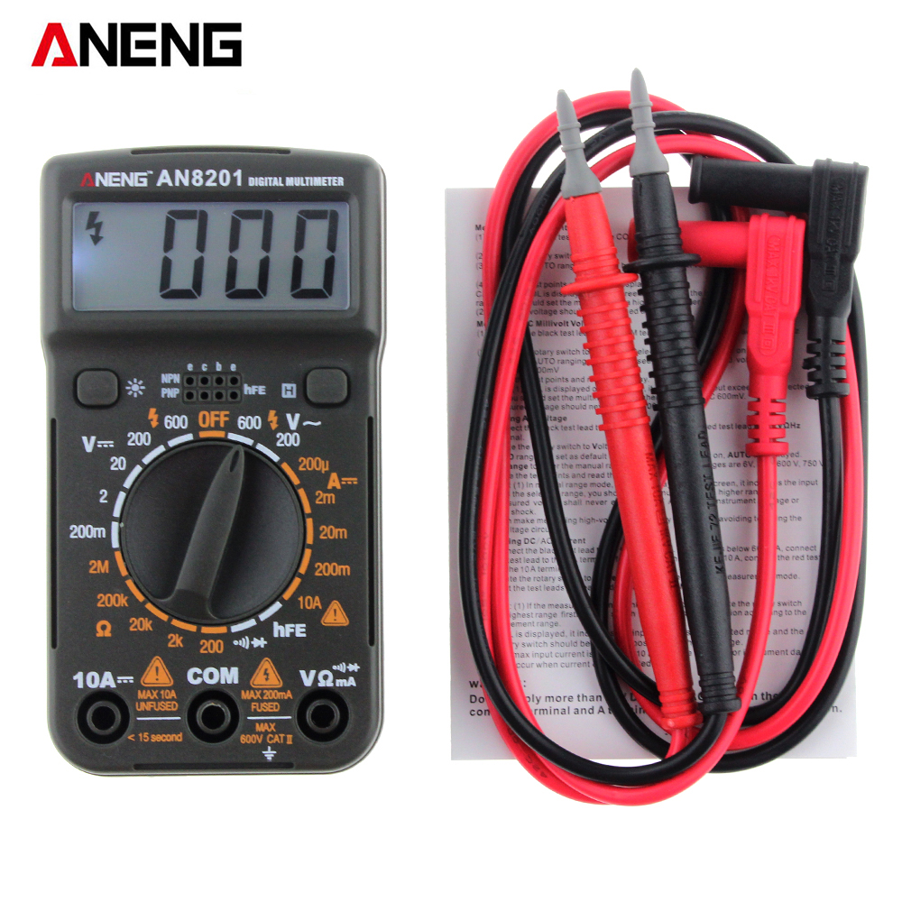 ANENG AN8201 Transitor Tester Digital Multimeter Backlight AC/DC Ammeter Voltmeter Ohm Electrical Tester Portable 1999 countsANENG AN8201 Transitor Tester Digital Multimeter Backlight AC/DC Ammeter Voltmeter Ohm Electrical Tester Portable 1999 counts
