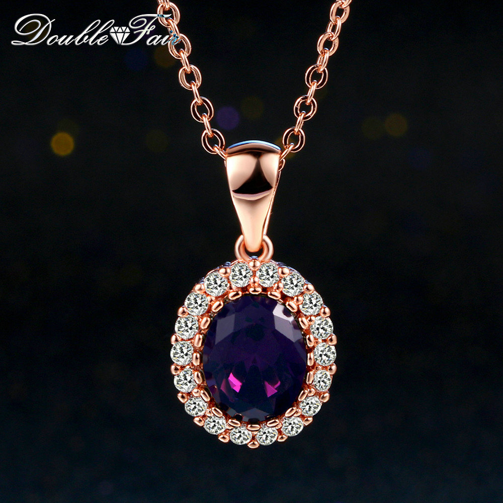 Elegant Cubic Zirconia Rose/White Gold Pated Austrian Crystal Necklaces&Pendants Fashion Jewelry For Women colares joias DFN389M