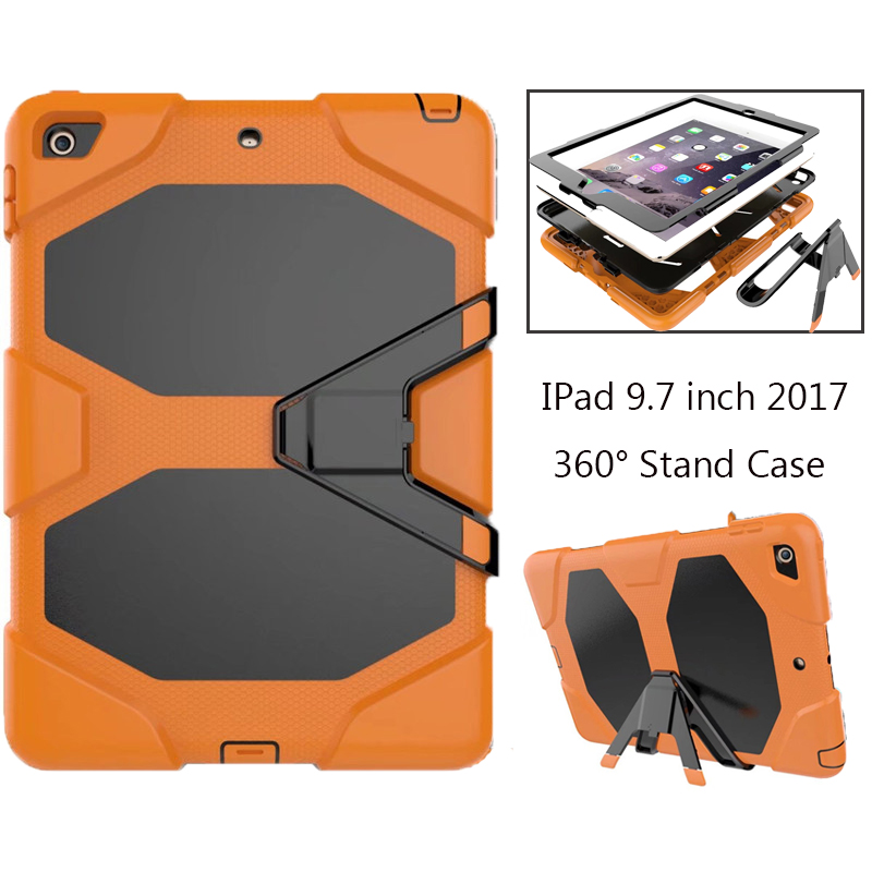 For Apple IPad 9.7 inch 2017 A1822 A1823 Kids Safe Shockproof Heavy Duty Silicone Hard Case Cover For IPad 2017 9.7 Hand hold hmsunrise case for apple ipad air 1 kids safe shockproof heavy duty silicone hard cover for ipad 5 case with wrist strap