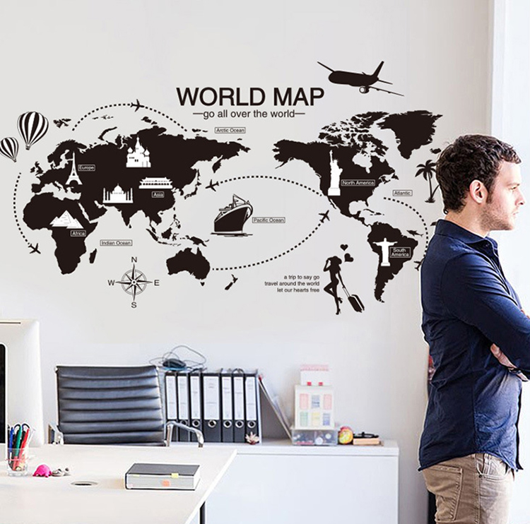 new creative world map large wall stickers home decor living room