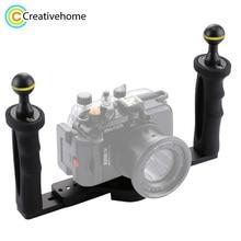 PULUZ Handheld Handle Hand Grip Stabilizer Rig Underwater Scuba Diving Tray Mount LED Light for Gopro Camera SJCAM