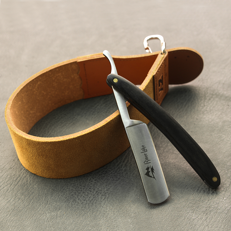 River Lake Barber Leather Strop Men's Stright Razor Shaving Knife Sharpening Strop Belt 19.7