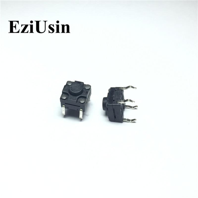 EziUsin 100pcs 6*6*5 Waterproof Botton PCB Keyboard Light Touch Micro Switch Mini Touch Keys Interrupteur DIY All Black DIP