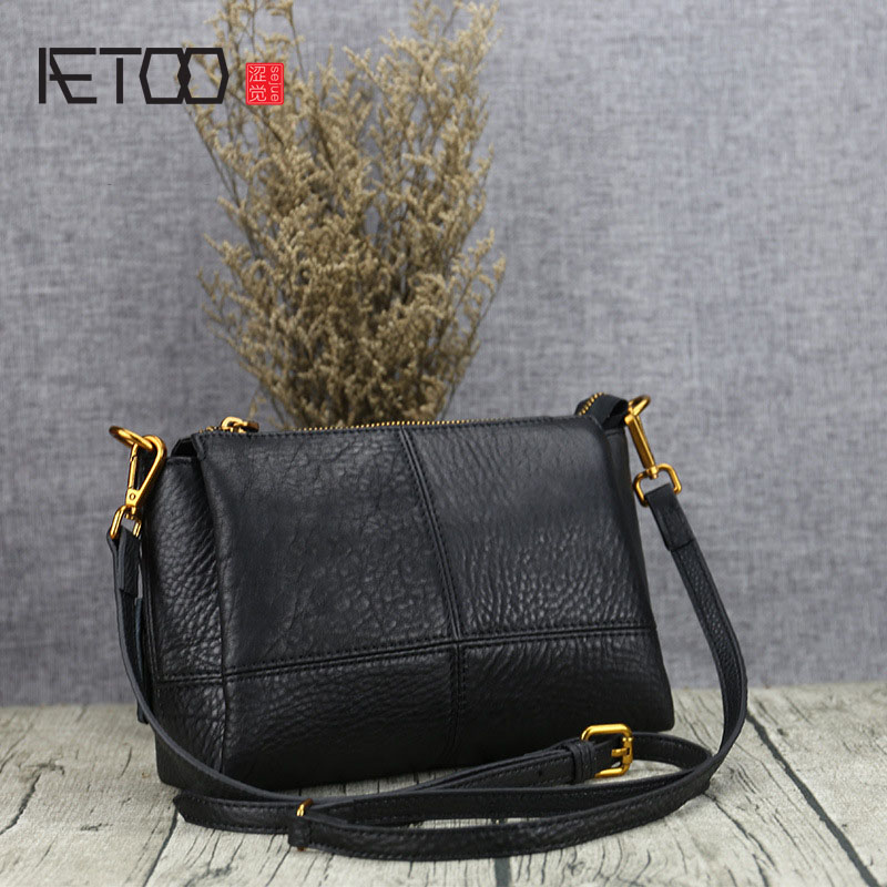 AETOO Original leather fashion casual shoulder bag Messenger handbag first layer of leather new korean version of the first layer of leather pillow bag large lychee pattern handbag shoulder messenger fashion leather leat