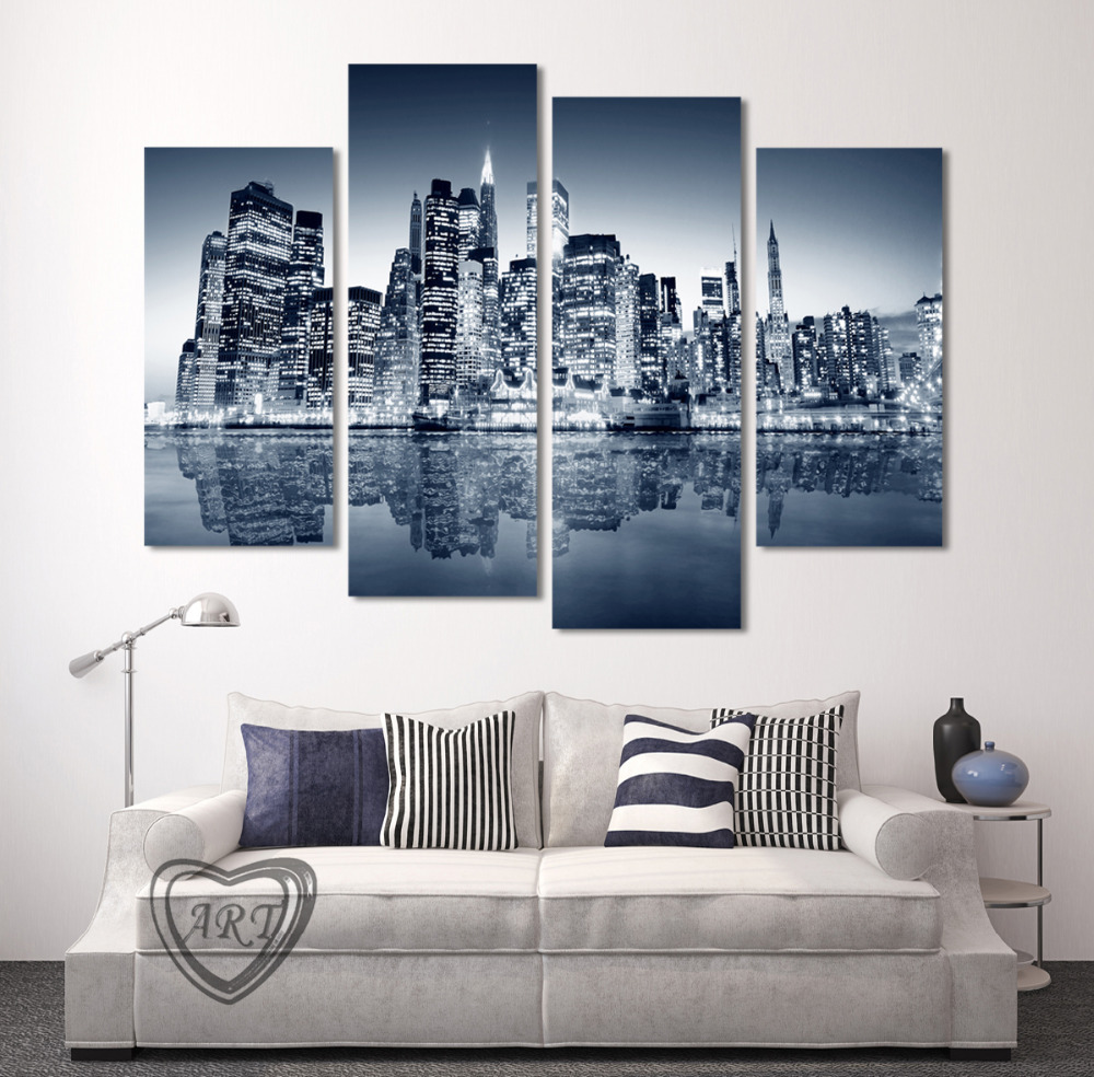 High Quality 4 Panels Home Decor Wall Art Painting Prints Of City View  Artwork Modern Canvas Print For Home Room Decor Unframed In Painting U0026  Calligraphy ...