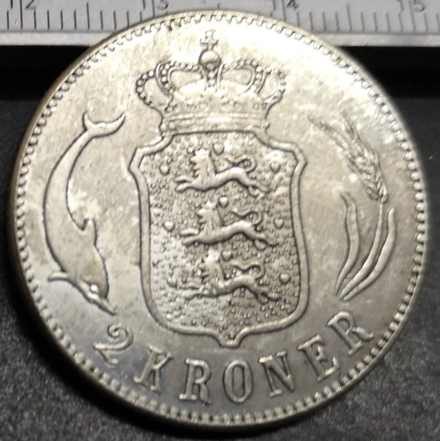 1916 Denmark 2 Kroner-Christian X Silver Plated Copy Coin